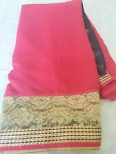 Pure georgette half n half saree with patch and lace on border and pallu