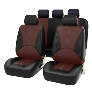 9Pcs Car Seat Cover Protector+Cushion Front & Rear Full Set PU Leather Interior
