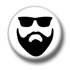Hipster 1 Inch / 25mm Pin Button Badge Sunglasses Facial Hair Beard Moustache