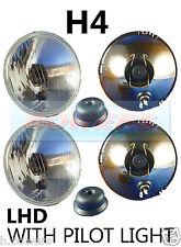 """5.75"""" 5 3/4"""" LHD CLASSIC CAR HEADLAMPS HEADLIGHTS HALOGEN H4 CONVERSION + PILOT"""
