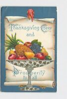 PPC POSTCARD THANKSGIVING CHEER TURKEY SCROLL FRUIT EMBOSSED