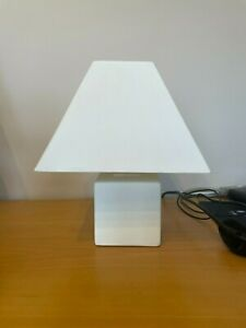Pair of White Stone Effect Bedside Lamps with Shades
