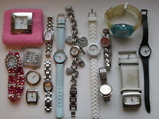 Lot of 15 Vtg Watches Men's Ladies Fashion Some Working for Crafts Projects Etc