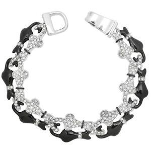 Black & White Cat Charm Chain Bracelet - Sparkling Crystal - Magnetic Clasp