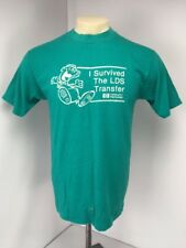 VTG 80s I survived the LDS Transfer Hewlett Packard T-Shirt Puffy Paint Teal L