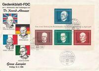 GERMANY 19 APRIL 1968 KONRAD ADENAUER  M/SHEET O/SIZED FIRST DAY COVER SHS