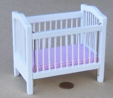 1:12 Scale Drop Sided White Painted Wooden Cot Tumdee Dolls House Nursery 829