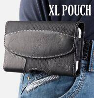 For XL LARGE Phones - BLACK Suede Pouch Holder Holster Belt Clip Loop Case Cover