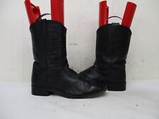 Justin Black Leather Roper Cowboy Boots Youth Size 4 D Style 3702Y