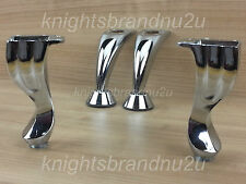 4x CHROME REPLACEMENT FURNITURE FEET, LEGS SOFA, BEDS, CHAIRS, STOOLS PRE FIX