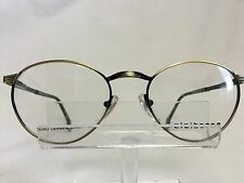 Vintage Claiborne Eyeglasses C 539 Antique Gold Black Brown Round Retro NOS