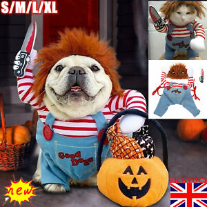 Pets Dogs Cat Halloween Costume Party Chucky Cosplay Poppy Fancy Dress Jumpsuits