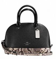 NEW COACH MINI SIERRA SATCHEL WITH SNAKE EMBOSSED LEATHER TRIM Black RRP$550