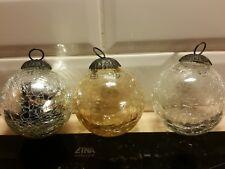 Three crackle Glass (heavy) round Baubles Balls German Kugel vintage antique
