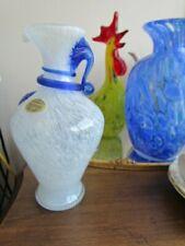 """Vintage Silvestri Cobalt Blue  White Murano Italian Art Glass Vase 7 3/4"""" tall"""