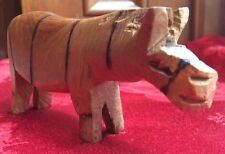 "Vtg Wooden Hand Carved Zebra Made In Kenya 1970s 5.5"" x 3"" Old Stock"