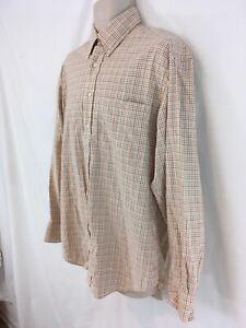 T Harris London Mens L Mini Windowpane Plaid Indian Cotton Shirt