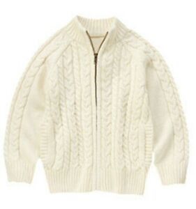 NWT Boys Gymboree Ivory Cable Knit Zip Front Pocket Cardigan Sweater, Sz S (5-6)