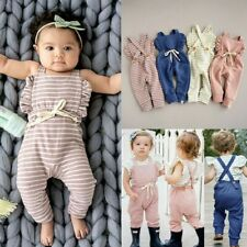Newborn Baby Girl Boy Backless Striped Ruffle Romper Overalls Jumpsuit Clothes