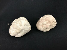 Vintage Mens Head Pipe Bowls White Plaster Bisque Sculpture Howard Ball Brothers