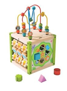 NEW EverEarth 5 in 1 Wooden My First Activity Cube - Bead Maze, Sorter, Abacus