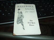 1927 Baseball Schedule New York Yankees Giants Brooklyn Robins World Series YR