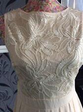 Little Mistress Nude Sequin Pleated Chiffon Dress Size 8 Pristine Hols 11/9