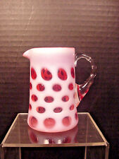 Fenton Cranberry Opalescent Coin Dot Small Pitcher Creamer Applied Handle