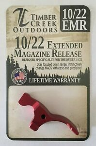 TIMBER CREEK - RUGER 10/22 EXTENDED MAGAZINE RELEASE LEVER - ANODIZED RED