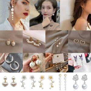 Lots Fashion Heart Pearl Earrings Ear Stud Dangle Charm Women Wedding Jewellery