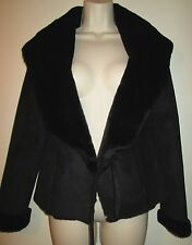 WHITE HOUSE BLACK MARKET Faux Suede SHEARLING JACKET XS Black Coat TIES ON SIDE