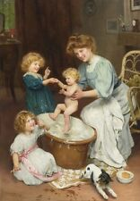 Children helping Mother bath baby by Arthur John Elsley vintage art