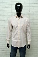 Camicia ENRICO COVERI Uomo Taglia Size 39 Maglia Shirt Man Quadri Bianco Rosso