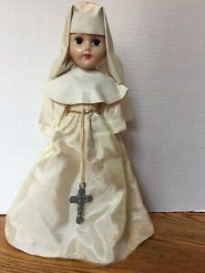 Vintage Plastic Nun Doll With White Habit & Metal Crucifix Sleepy Eyes Jointed