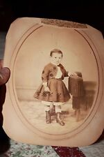 early large primitive cabinet photo of boy dressed as girl Kohlbreck Bowery NY