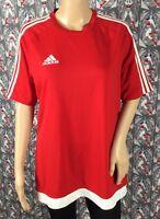 Adidas Men's Climalite Red W/ Three White Stripes Soccer Jersey Top Size Medium