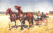 Sulky Horse Racing Horses Signed Von Paul Thomas Postcard