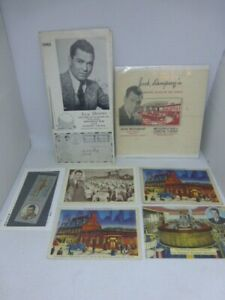 Wow! Vintage Jack Dempsey Lot Autographed 1939 Menu Napkin Matchbook 4 Postcards