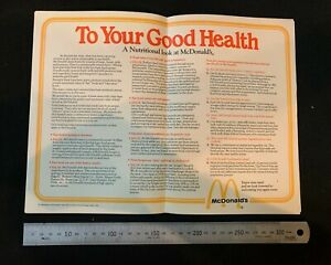 Vintage 1980 McDonald's tray liner, To Your Good Health, nutrition, fast food