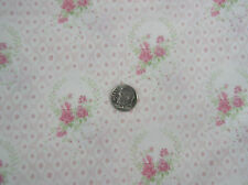 Yuwa 1890's French Pink Roses on Pink and Cream Small Scale Dolls Cotton Fabric