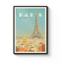 Retro Paris France Travel Vintage Artwork Wall Art Poster Print Framed Canvas