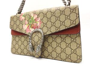 Auth GUCCI Dionysus GG Blooms Supreme Chain Shoulder Bag Beige PVC 400249 V-5873