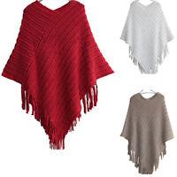 Women Fringe Cape Poncho Shawl Scarf Sweater Jacket Coat Knitted Cardigan US