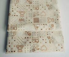 CHEAP! Remnant Crème Pépinière en Polycoton Tissu Teddy Bear Craft 50 cm x 100 cm