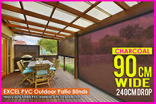 90 X 240cm PVC Blind Tinted Charcoal Patio Bistro Outdoor Veranda Cafe Shade