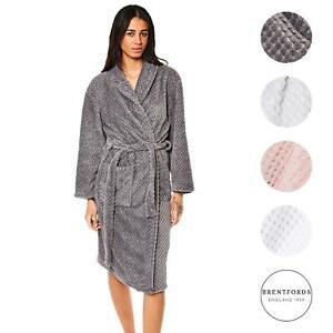Brentfords Waffle Fleece Dressing Gown Robe Soft Warm Womens Spa Hotel Nightwear