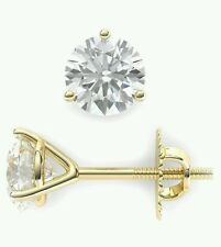 .50Ct. Stud Martiny Earrings Round Cut 14K Yellow  Gold With Screw Back New.
