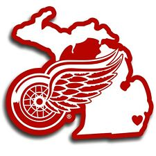 Detroit Red Wings Home State Vinyl Auto Decal (NHL) Michigan Shape
