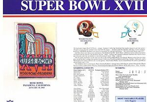 Super Bowl XVII Miami Dolphins vs Redskins Willabee & Ward Jersey Football Patch