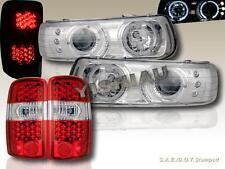 2000-2006 TAHOE / SABURBAN HALO LED PROJECTOR HEADLIGHTS + LED TAIL LIGHTS RED